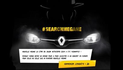 Application Facebook Renault : Search Mégane / Jeu en Flash avec plateforme immersive en 360°
