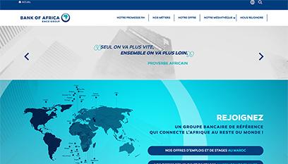 Site internet Plateforme RH de Bank of Africa par Pyxicom / Conception graphique, Développement : Drupal 9