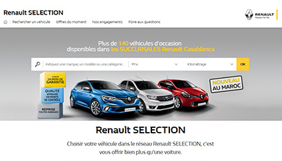 Site internet Renault Sélection / CodeIgniter,AngularJs, Responsive design